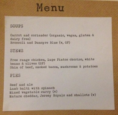 Carl and Eilidh's wedding menu